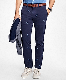 Embroidered Pennant Stretch Cotton-Twill Chinos