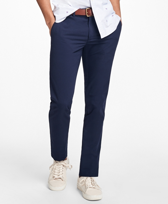 Slim-Fit Seersucker Chinos Navy