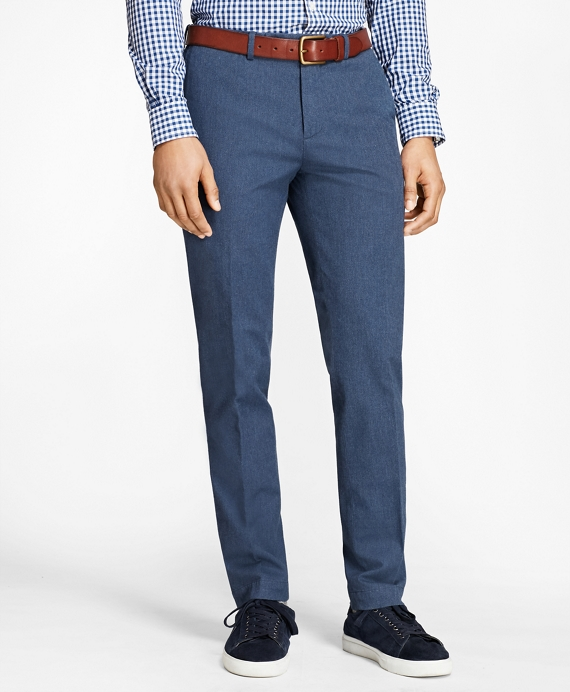 Slim-Fit Heathered Stretch-Twill Chinos Navy