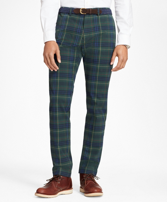 Slim-Fit Stewart Hunting Tartan Brushed Cotton Twill Chinos Navy-Green