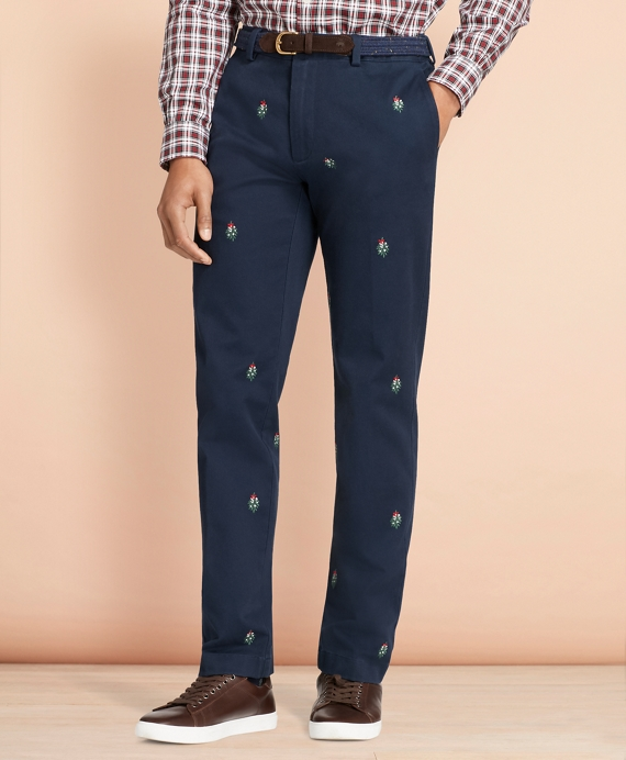 Mistletoe-Embroidered Cotton Twill Chinos