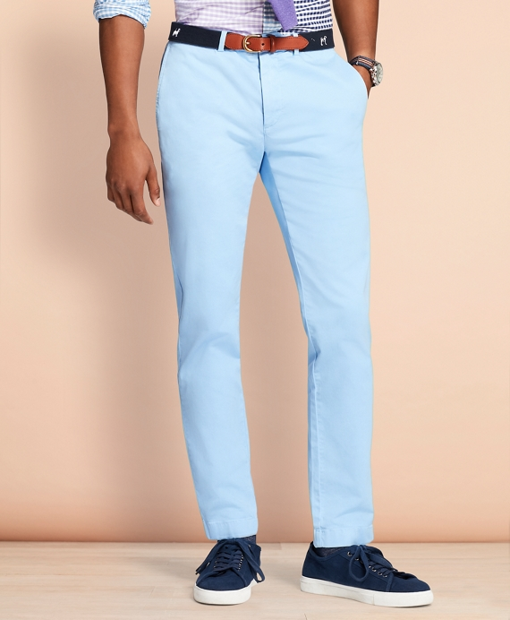 Slim-Fit Garment-Dyed Stretch Chinos Light Blue