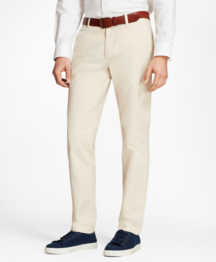 Garment-Dyed Cotton-Linen Stretch Chinos