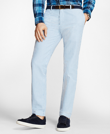 Slim-Fit Striped Cotton Seersucker Pants