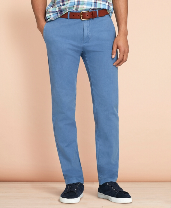 Slim-Fit Garment-Dyed Cotton-Linen Chinos Blue