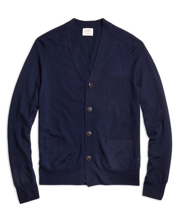 Merino Wool Cardigan Navy