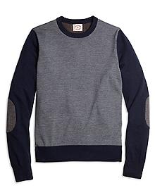 Merino Wool Color-Block Crewneck Sweater