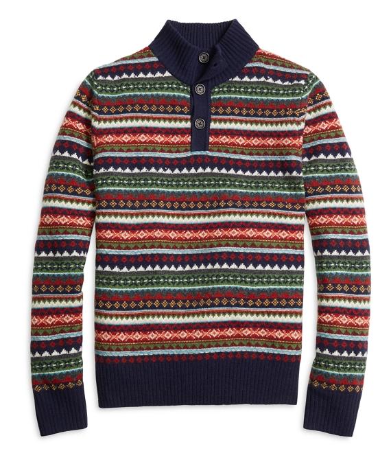 Men's Fair Isle Striped Button Mockneck Sweater | Brooks Brothers