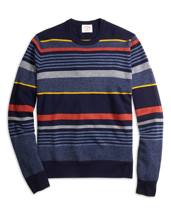 Lambswool Stripe Crewneck Sweater