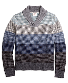 Ombre Stripe Shawl Collar Sweater