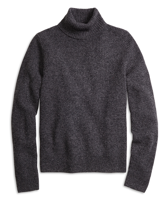 Men's Dark Grey Marled Turtleneck Sweater | Brooks Brothers