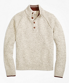 Raglan Stitch Button Mockneck Sweater