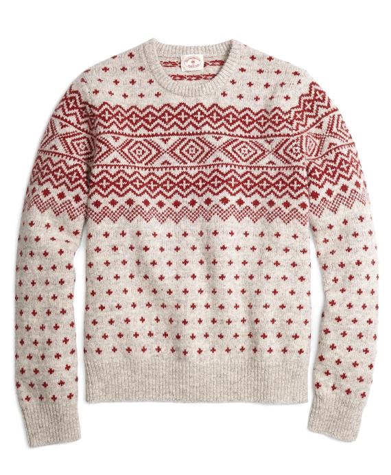 Geometric Fair Isle Crewneck Sweater