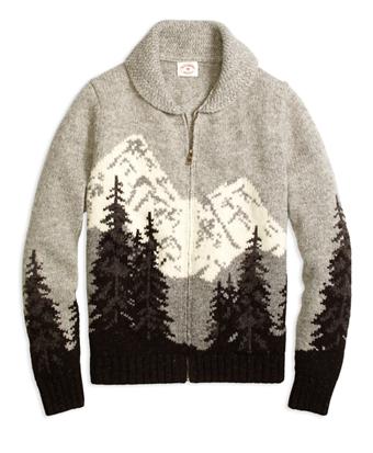 Mountain Motif Zip-Front Sweater