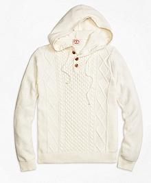 Cable Henley Hooded Sweater