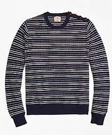 Stripe Jacquard Crewneck Sweater