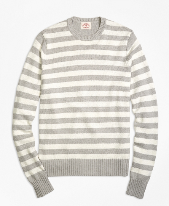 Variegated Stripe Crewneck Sweater Grey-White