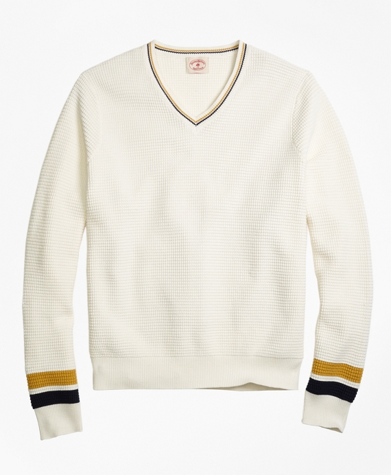 Edwardian Men's Shirts & Sweaters Vintage Tennis V-Neck Sweater $69.50 AT vintagedancer.com