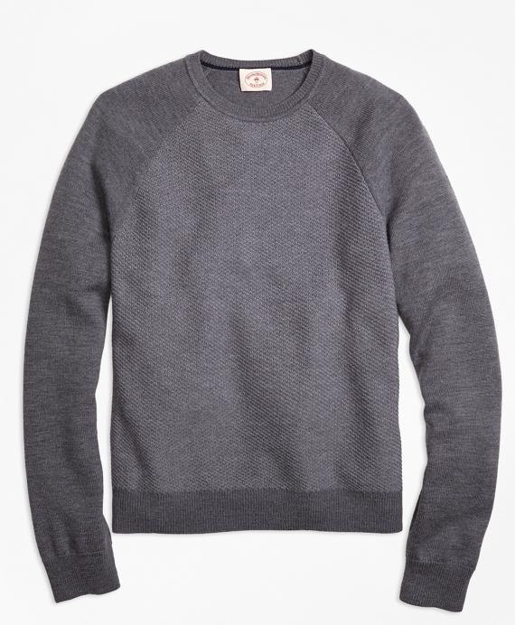 Merino Wool Diagonal Texture Raglan Crewneck Sweater Grey