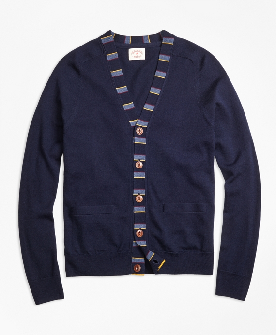Merino Wool Striped Detail Cardigan Navy