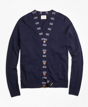 Merino Wool Striped Detail Cardigan