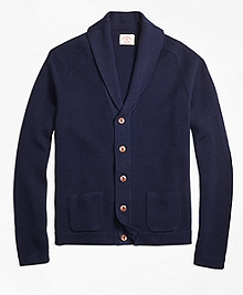 Merino Wool Shawl-Collar Cardigan