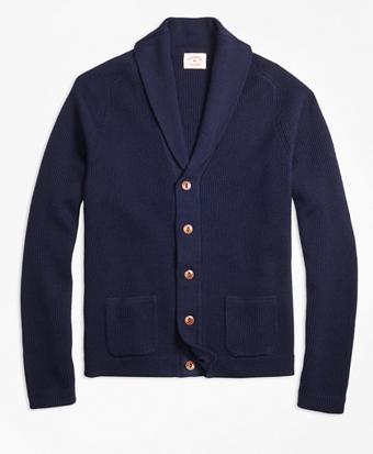 Merino Wool Shawl-Collar Cardigan