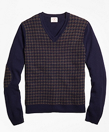 Houndstooth Lambswool V-Neck Sweater