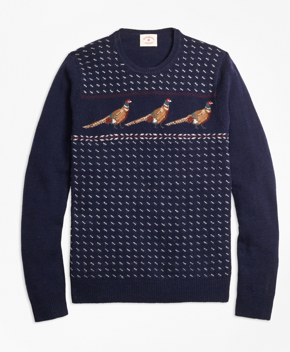 Pheasant-Motif Lambswool Sweater Multi