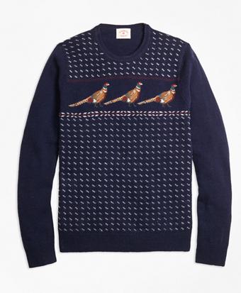 Pheasant-Motif Lambswool Sweater