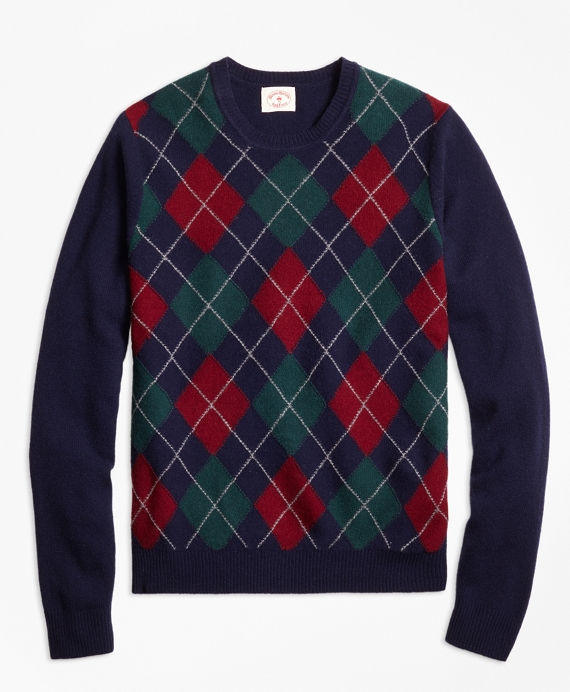 1930s Style Men's Clothing Lambswool Argyle Crewneck Sweater $98.50 AT vintagedancer.com