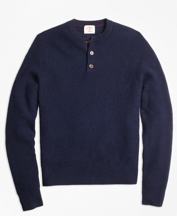 Cashmere Waffle Henley Sweater Navy
