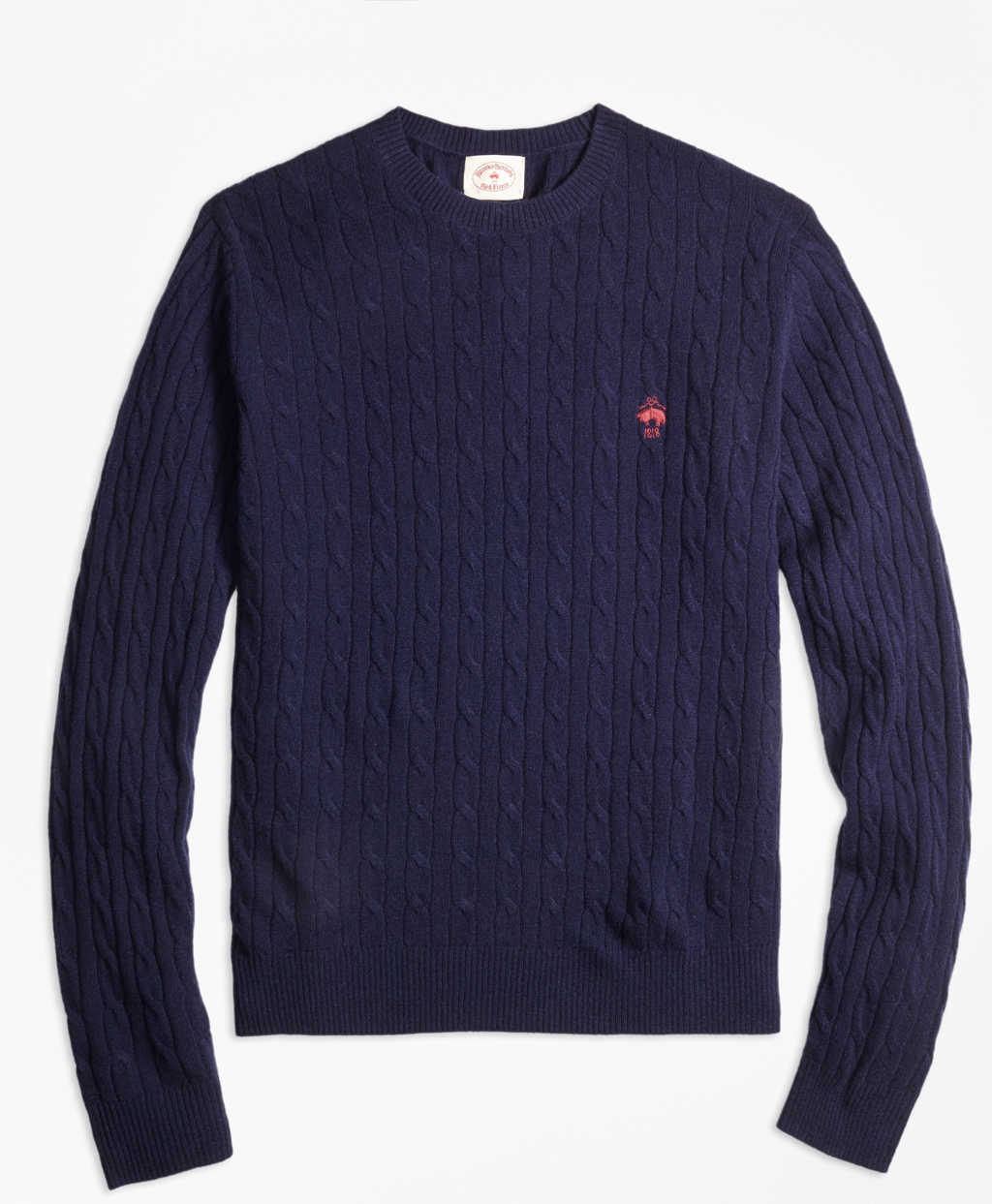 Lambswool Cable Crewneck Sweater - Brooks Brothers