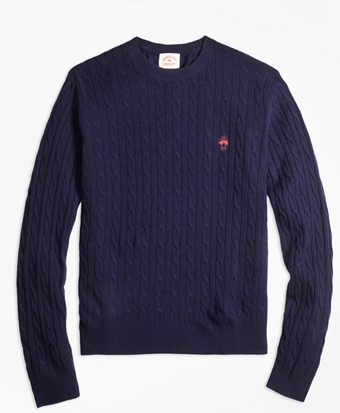 Lambswool Cable Crewneck Sweater