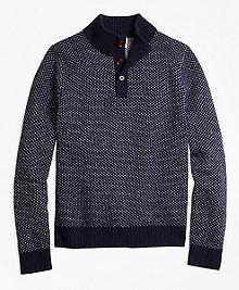 Bird's-Eye Mockneck Sweater