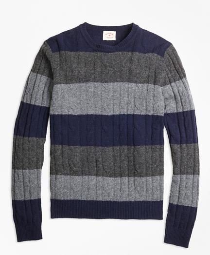 Wide-Stripe Cable Crewneck Sweater