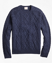 Merino Wool Cable Crewneck Sweater
