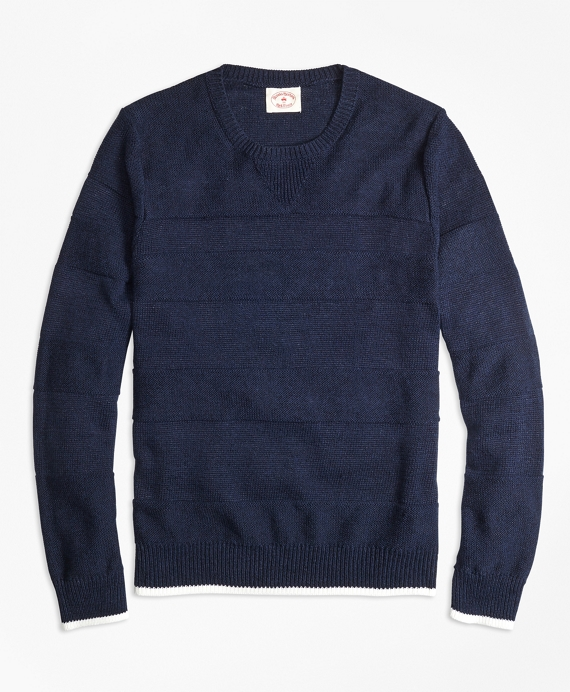 Ribbed Textured Crewneck Sweater Navy