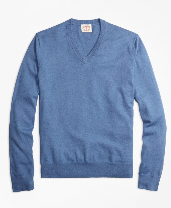 Cotton-Cashmere V-Neck Sweater Blue