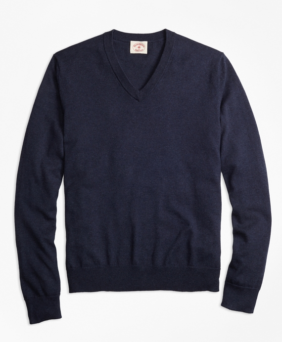 Cotton-Cashmere V-Neck Sweater Dark Blue