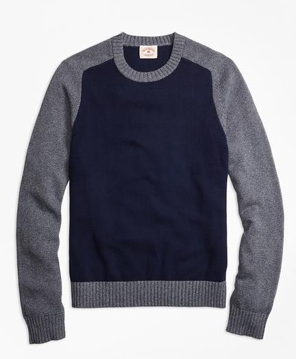 Marled Color-Block Crewneck Sweater