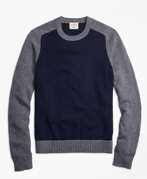 Marled Color-Block Crewneck Sweater