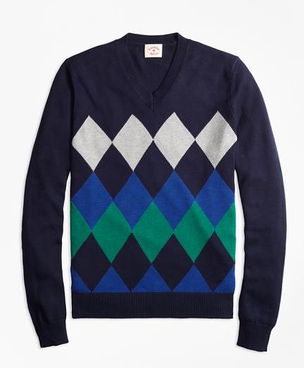 Cotton Argyle V-Neck Sweater
