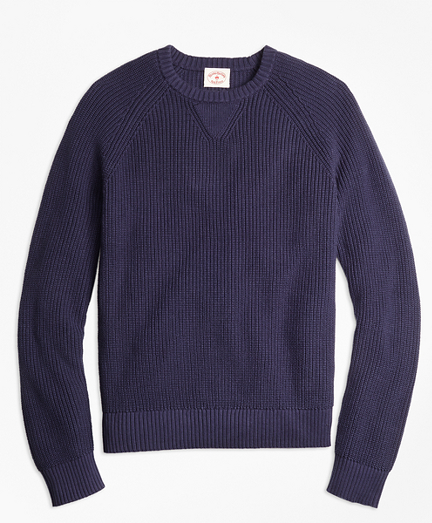 Ribbed Raglan Crewneck Sweater