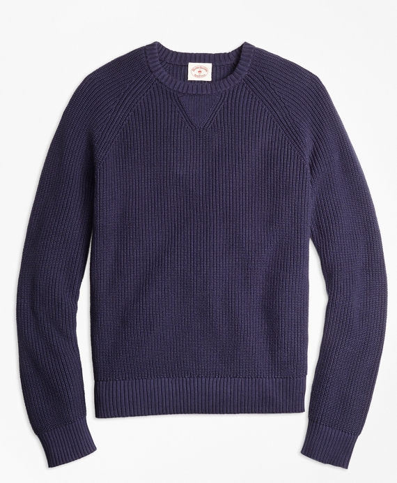 Ribbed Raglan Crewneck Sweater Navy