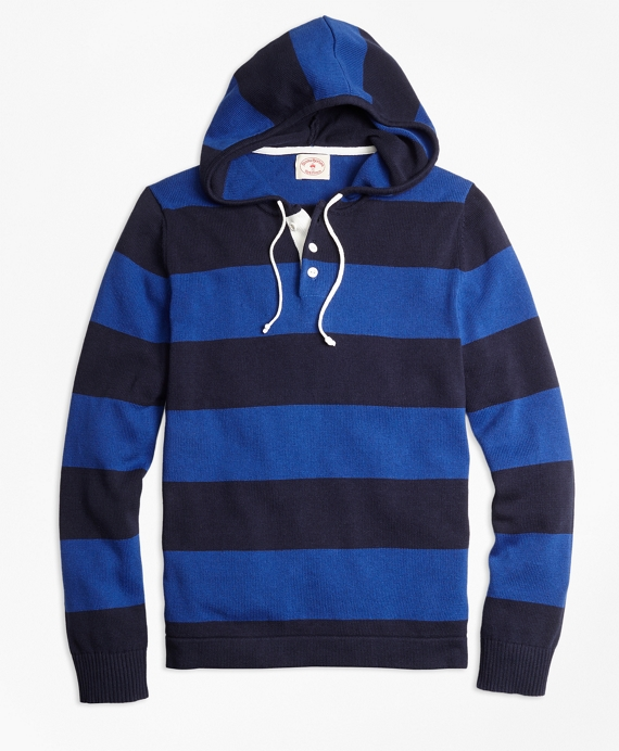 Rugby Stripe Hooded Sweater Blue-Navy