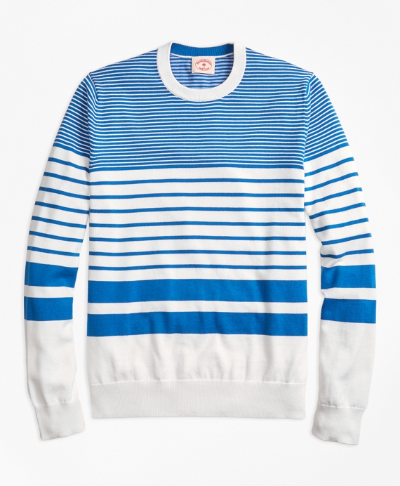 Nautical-Stripe Cotton Crewneck Sweater Blue-White