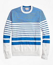 Nautical-Stripe Cotton Crewneck Sweater