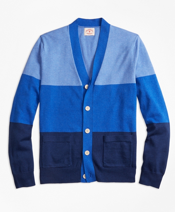 Stripe Color-Block Cotton Cardigan Blue