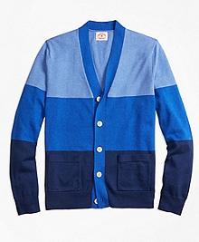 Striped Color-Block Cotton Cardigan